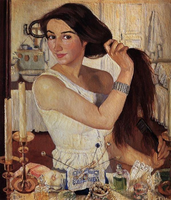 Художник  Зинаида Серебрякова Автопортрет  («За туалетом») 1909 г.