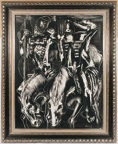 """АРТЁМОВ  Георгий Калистратович  (1892–1965)  """"Два всадника""""  1950–60-е,  бумага на фанере, масло, процарапывание  63,5 x 48,5"""