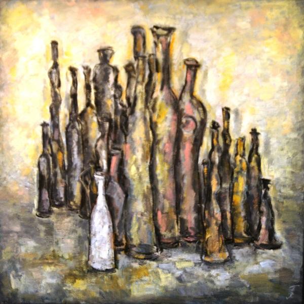 Художник  Елена Гурвич Натюрморт со старыми бутылками  85х85 холст, масло 2014 г.