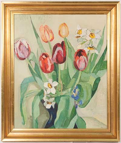 """ДМИТРИЕВСКАЯ Лидия (1895–1967)  """"Натюрморт с цветами"""" оргалит, масло  46х38"""