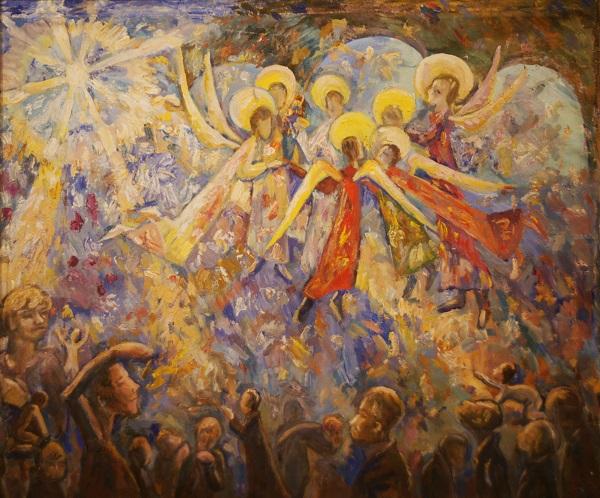 """В.М. Багина """"Хоровод ангелов"""" 2003г.  холст, масло"""