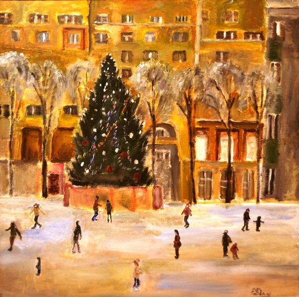 """Е.А. Делягина """"Каток на Патриарших"""" холст, картон, масло 2011 г."""