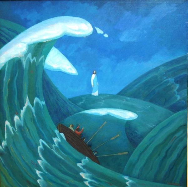 """Никита Кулинич """"Христос среди нас. Хождение по морю"""" холст, масло"""