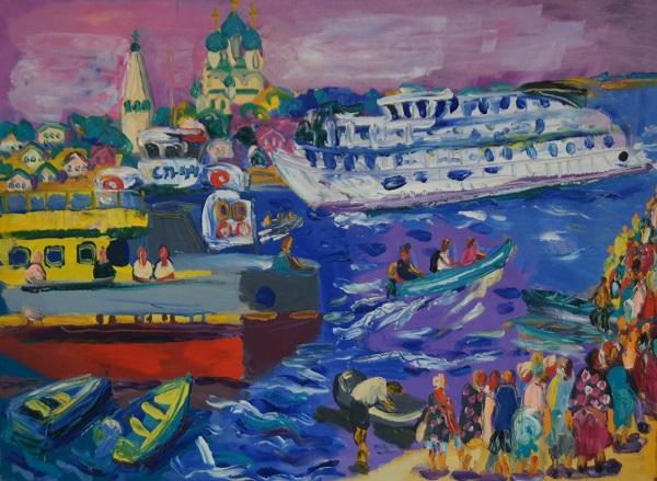 """Ольга Мотовилова-Комова """"Белый пароход"""" холст, масло 2011 г."""