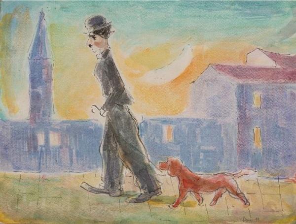 Моисей Фейгин Чаплин на прогулке с собачкой 1994 г. ватман, мелки 38х50