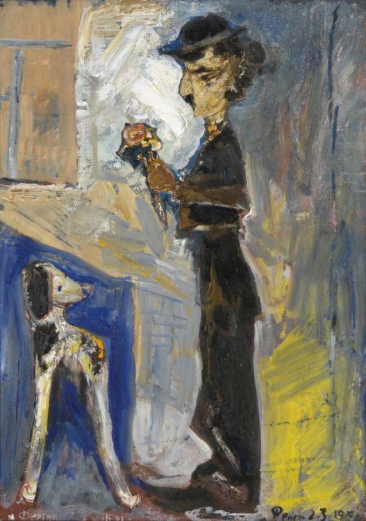Моисей Фейгин Чаплин с собачкой 2003 г. холст, масло 70х50