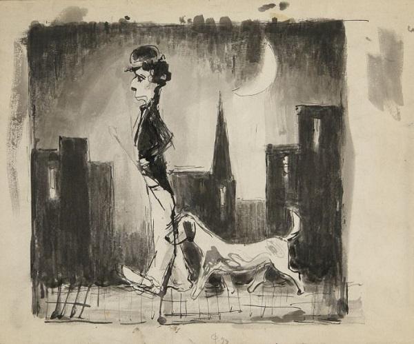 Моисей Фейгин Чаплин с собакой тушь, картон