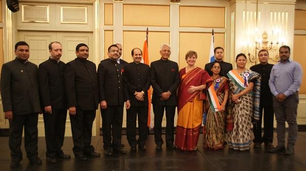 С послом Республики Индия Пунди Шринивасаном Рагхаваном и супругой посла Барбарой Рагхаван 26 января, 2015 г.  День Республики Индия