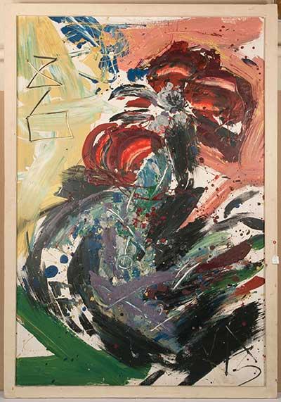 "Анатолий Зверев  (1931 -1986)  Казарин Виктор (1948) "" Петух"" 1986 г.,  оргалит, масло  122х79"