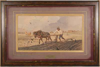 "Николай Каразин (1842-1908 гг..) ""На пашне"" картон, графитный карандаш, акварель, темпера 199х36 рисунок очерчен 307х488 лист 1880 г."