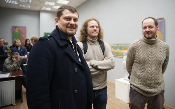 Скульптор  Андрей Молчановский с коллегами Выставка  работ Владимира Буйначева в МОСХ на БЕГОВОЙ, 7 26 февраля 2015 г.