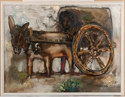"""Бабур Мухамедов  (1965)  """"Фургон"""" 1993–1999 гг..  холст, масло  59х80,5"""