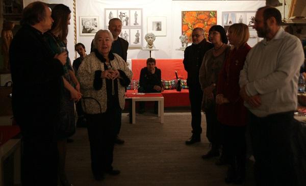 Валентина Кибальникова дочь скульптора  Александра Кибальникова в Творческой Мастерской Рябичевых 13 февраля 2015 г.