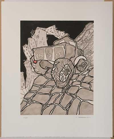"""Оскар Рабин  (1928) """"Грузовик""""  2014 г.  бумага, цветной офорт (с медной матрицы) ручная раскраска  48х37 (оттиск)  69х56,2(лист)"""