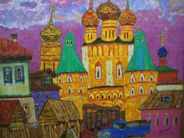 "В.Кокурин ""Борисоглебский монастырь"" 90х120 холст, темпера 1975 г.   Галерея МеларусАрт. 8 (985) 767 89 06 8(962) 965 10 10 8 (903) 290 72 60"