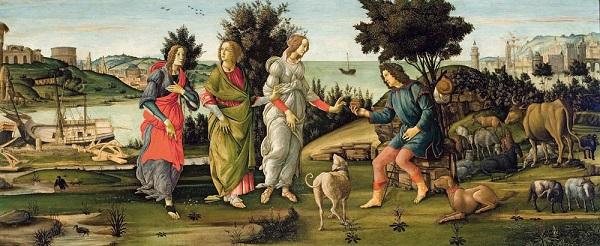 Сандро Боттичелли. Суд Париса (1485-1488)  Холст, темпера  Фонд Джорджо Чини, Венеция
