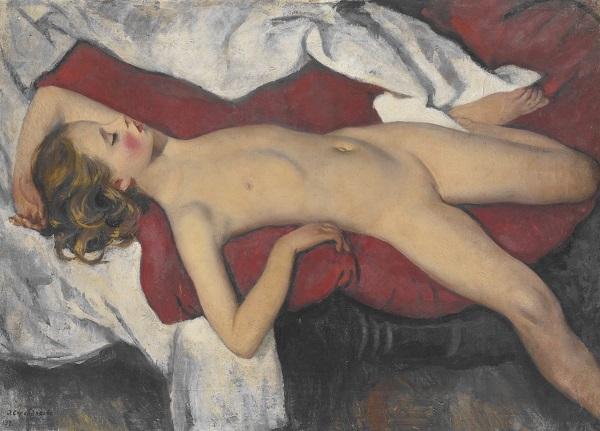 "Зинаида Серебрякова (1884 - 1967)  ""Штудия спящей"",  1923 г. холст, масло  70х 98 cм"