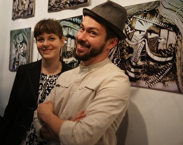 """Шеомир Гучепшоко  с женой Анастасией на своей Выставке """"О главном"""" в Творческой Мастерской Рябичевых"""