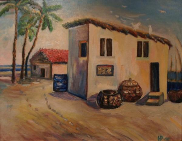 """Натали Рахлина """"Рыбацкие хижины. Индия"""" холст, масло 2006 г."""