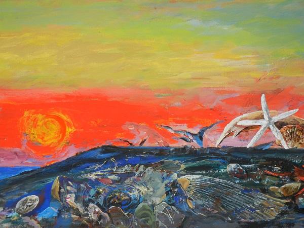 """Виктор Орловский """"На закате дня"""" 2000 г. 50х148 холст, смешанная техника"""