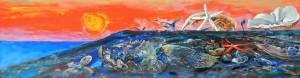 """Виктор Орловский """"На закате дня"""" (фрагмент картины) 2000 г. 50х148 холст, смешанная техника"""