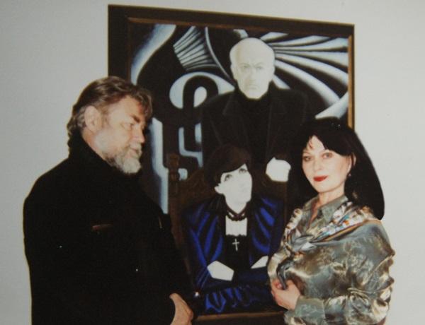 Художник  Игорь Обросов и Татьяна Ормант на выставке в ВЗ Российской Академии художеств