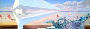 """Виктор Орловский """"За миллионы лет до нашей эры"""" 1992 г.  41х122   смешанная техника Картина представляет собой уже другую  композицию  из чистых геометрических форм в виде космической инсталляции. Экспозиция дополняется фрагментами картин и их вариантами инверсий."""