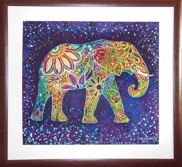 "Ирина Богомолова ""Индийский слон"" Горячий батик, хлопок 80х85 Номинация: декоративно-прикладное искусство."