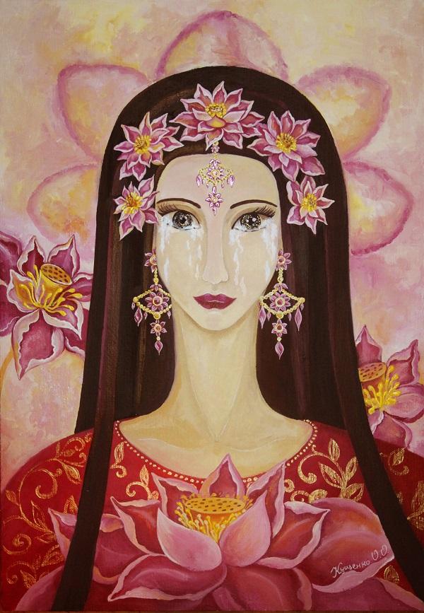 """Олеся Кущенко Возрастная категория от 18 до 30 лет Иллюстрация к сказанию о происхождении смерти. """"Тогда вышла из тела Брахмы женщина с темными глазами, с венком из лотосов на голове, одетая в темно-красное платье. Она направилась к югу своим путем, но Брахма воззвал к ней и сказал: «Смерть, ступай и убивай живые существа в этом мире! Ты возникла из моей мысли об уничтожении мира и из моего гнева, поэтому идя и уничтожай живущих — и неразумных и мудрых!» И заплакала увенчанная лотосами Смерть ....... """""""