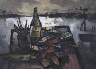 """Оскар Рабин """"Спокойная жизнь с живописью и парижской водкой""""  1997 г. Холст, масло, коллаж  73,5 x 100"""