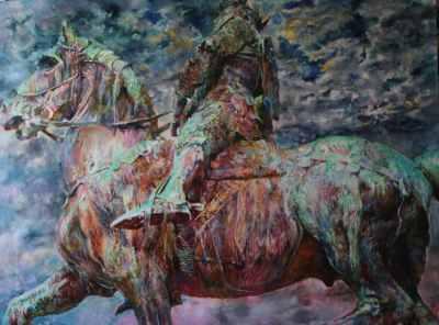 "Сергей Базилев ""Всадник""  2008 г. холст, масло  160 x 220"