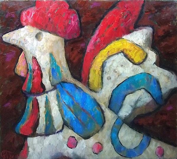 """Леонид Гландин """"Петушки"""" -- 2 диптих 69х78 холст, масло  2015 г."""