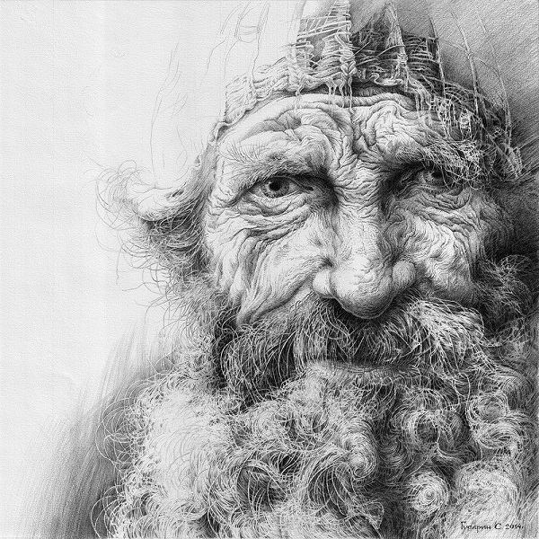 "Сергей Гусарин ""Праотец"" бумага, карандаш  45х45"