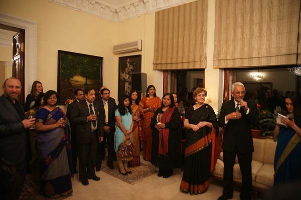 Чрезвычайный и Полномочный Посол Республики Индия в России Господин Пунди Шринивасан Рагхаван и его прекрасная жена Барбара Рагхаван на приеме в Резиденции Посла в Москве 29 декабря 2015 года