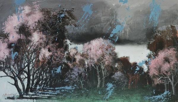 """Владимир Мигачёв """"Весна"""" 2015 г.  холст, смешанная техника 170х280"""