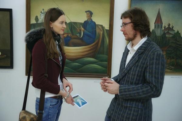 София Загряжская, гость выставки  Никита Кулинич, художник,  сын Елены Борзых