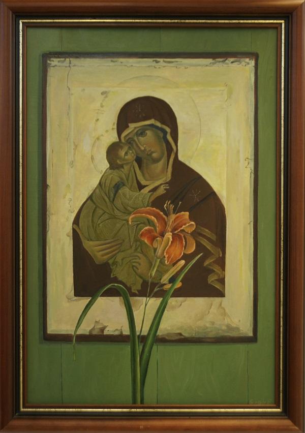 """Елена Борзых """"Богородица с лилиями"""" 2009 г. картон, масло"""