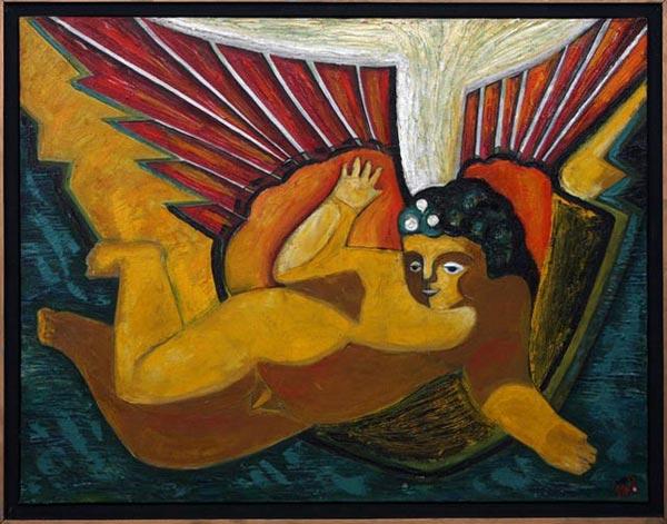 """Маргарита Юркова """"Золотой Ангел"""" 60х80 холст, масло  1992 г."""