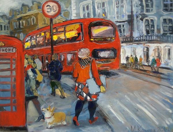 "Мария Комова ""Корги в Лондоне"" 50х60 холст, масло 2014 г."