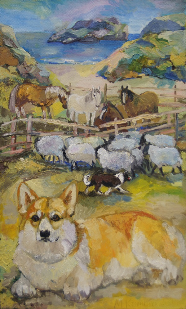 "Мария Комова ""Пастухи Пемброкшира"" 80х50 холст, масло  2014 г."