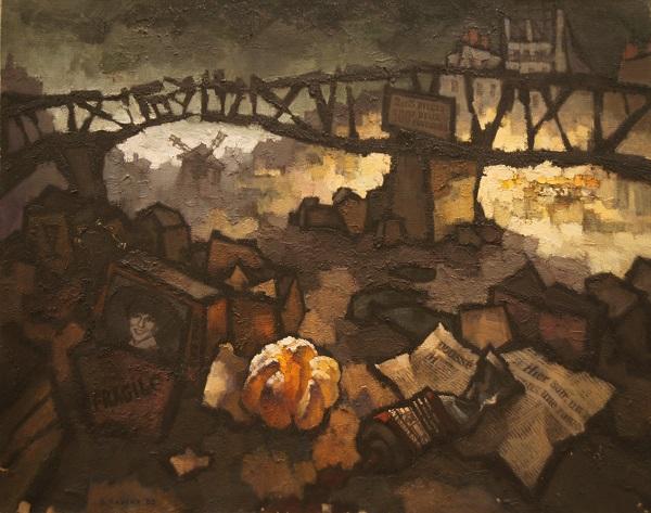 "Оскар Рабин ""Забастовка мусорщиков в Париже"" 1983 г. холст, масло"