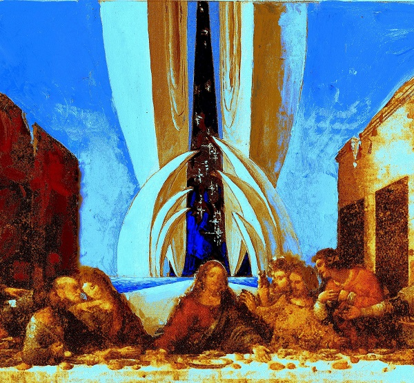 """Композиция  ВИКТОРА ОРЛОВСКОГО  """"ТАЙНАЯ ВЕЧЕРЯ ЛЕОНАРДО ДА ВИНЧИ В ПРОСТРАНСТВЕ КОСМОПЛАСТИЦИЗМА""""  2016 год"""