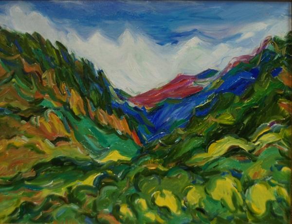 """Эту картину автор выставки """"Впечатления об Индии"""" Карахан Сефербеков подарил Посольству Республики Индия. На ней изображен пейзаж долины Кулу."""