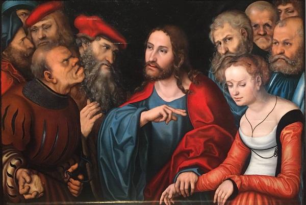 """Лукас Кранах и Мастерская """"Христос и грешница"""" 1532 г.  Музей изящных искусств, Будапешт"""
