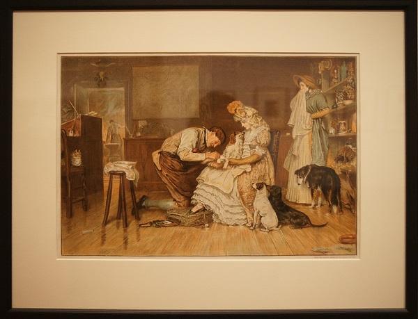 """Неизв.гравер Великобритании  2 половина 19 в. """"У ветеринара""""   1883 г.  С картины Р. Макбета"""
