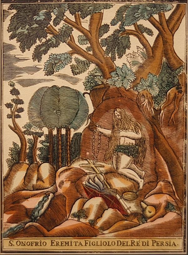 """""""Святой Онофрио""""  неизвестный художник, Италия  конец 19 в.  цв. ксилография"""