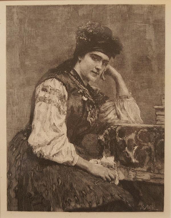 """Матэ В.В.  1856-1917 гг.. """"Малороссиянка"""". Портрет С.М.Драгомировой  1890-ые  с картины И.Е.Репина 1889 года"""