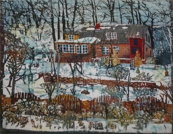 Картина Серафимы Шиповской техника: хлопок, анилиновые красители, горячий батик