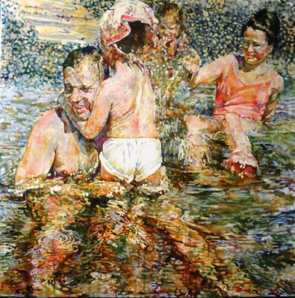 """Сергей Базилев """"Гагарины на пляже"""" 2013 г.  холст, масло  150х150"""