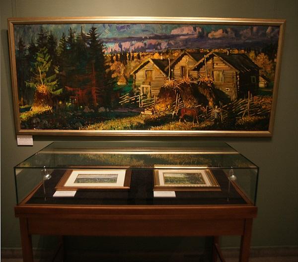 Экспозиция работ Михаила Абакумова включила произведения из коллекций Олега Брайловского, семьи Полинковских и семьи художника.